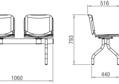 Schéma banc 2 assises + table