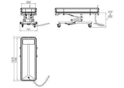 Schéma du chariot de douche
