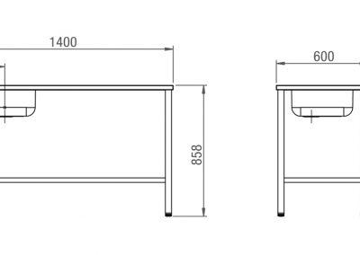 Schéma table de travail avec évier