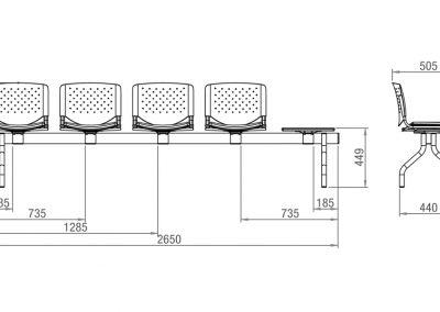 Schéma banc 4 assises + table