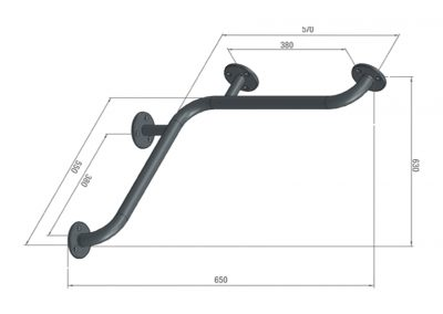 Schéma barre d'appui d'angle - 4 fixations