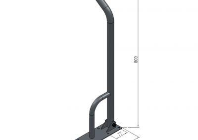 Schéma barre d'appui avec porte serviette - 2 fixations