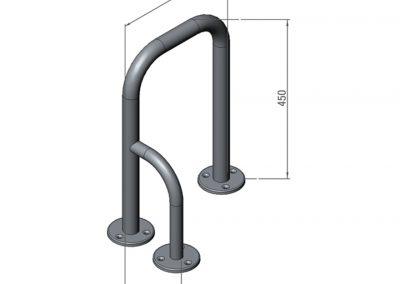 Schéma barre d'appui avec porte serviette - 3 fixations