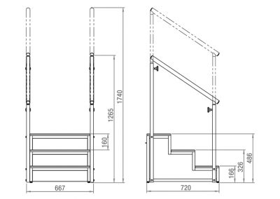 Schéma escalier 3 marches