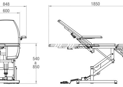 Schéma fauteuil de podologie